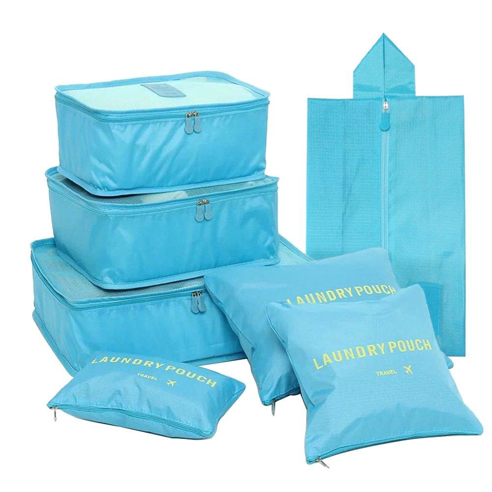 FunYoung Kleidertaschen-Set 7-teilig Reisetasche in Koffer Wäschebeutel Schuhbeutel Kosmetik Aufbewahrungstasche Farbwahl (Blau) SN01-Lan