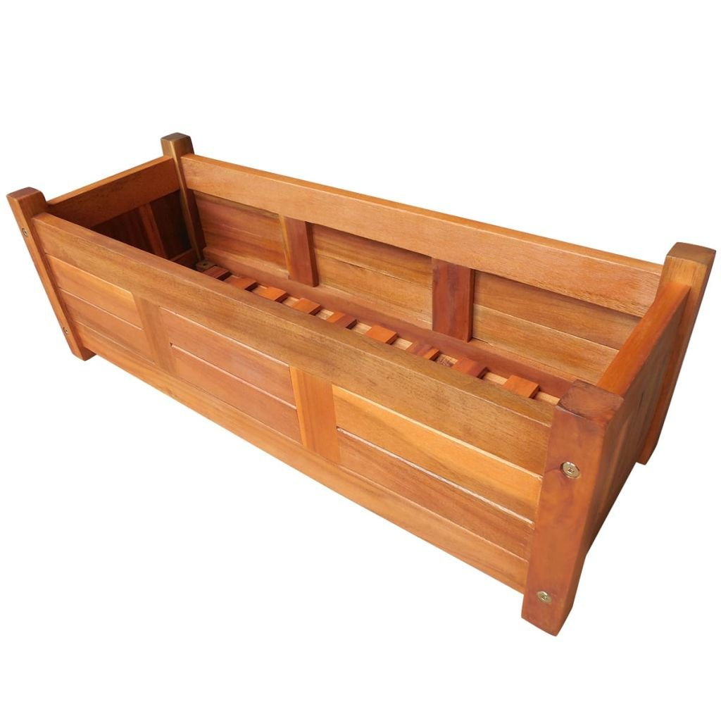 Festnight Garden Planter Raised Bed Acacia Wood 29.9'' x 10.9'' x 9.8''