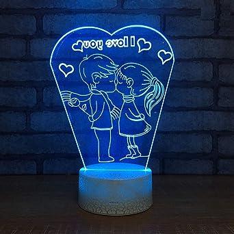 Lámparas de mesa de humor 3D Pareja Amor Lámpara de noche LED 3D ...