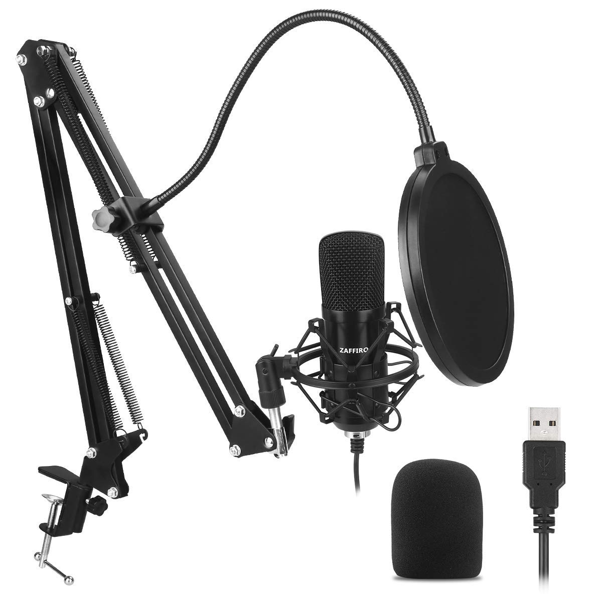 USB Microphone Kit, ZAFFIRO Condenser Microphone Plug& Play Cardioid Computer Microphone for Desktop/Laptop/Notebook,Recording for Podcasting, Live Streaming, Gaming or Chatting,Black