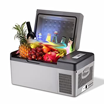 HYW Car Nevera Coche 15L Doble Uso Refrigeración Compresor Mini Mini-Refrigerador Termostato Congelado Caja