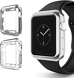 Alritz for Apple Watch 3 Bumper 42mm 38mm, Soft TPU Protective Case Cover for Apple Watch Series 1 Series 2 Series 3 Nike+ Sport Edition (Silver/Clear, 42mm)