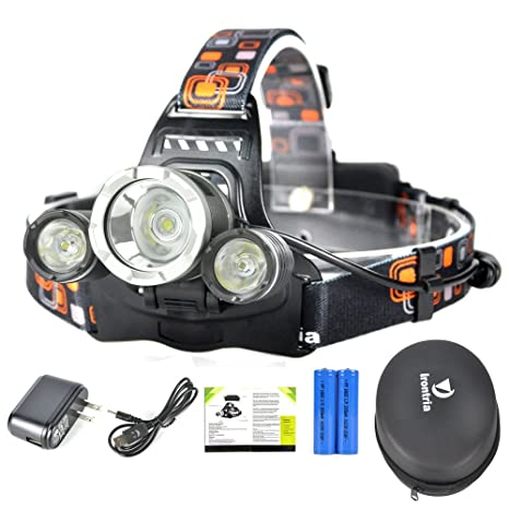 Headlamp 5000 lu Bright Headlight Headlamp Flashlight Torch 3 CREE on