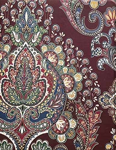 Pillowcase Cotton Paisley (Tahari Home Maison Bedding 3 Piece King Size Luxury Duvet Comforter Cover Pillowcases Shams Set Paisley Medallion Pattern in Shades of Blue Green White Tan Maroon, Beige, Brown)