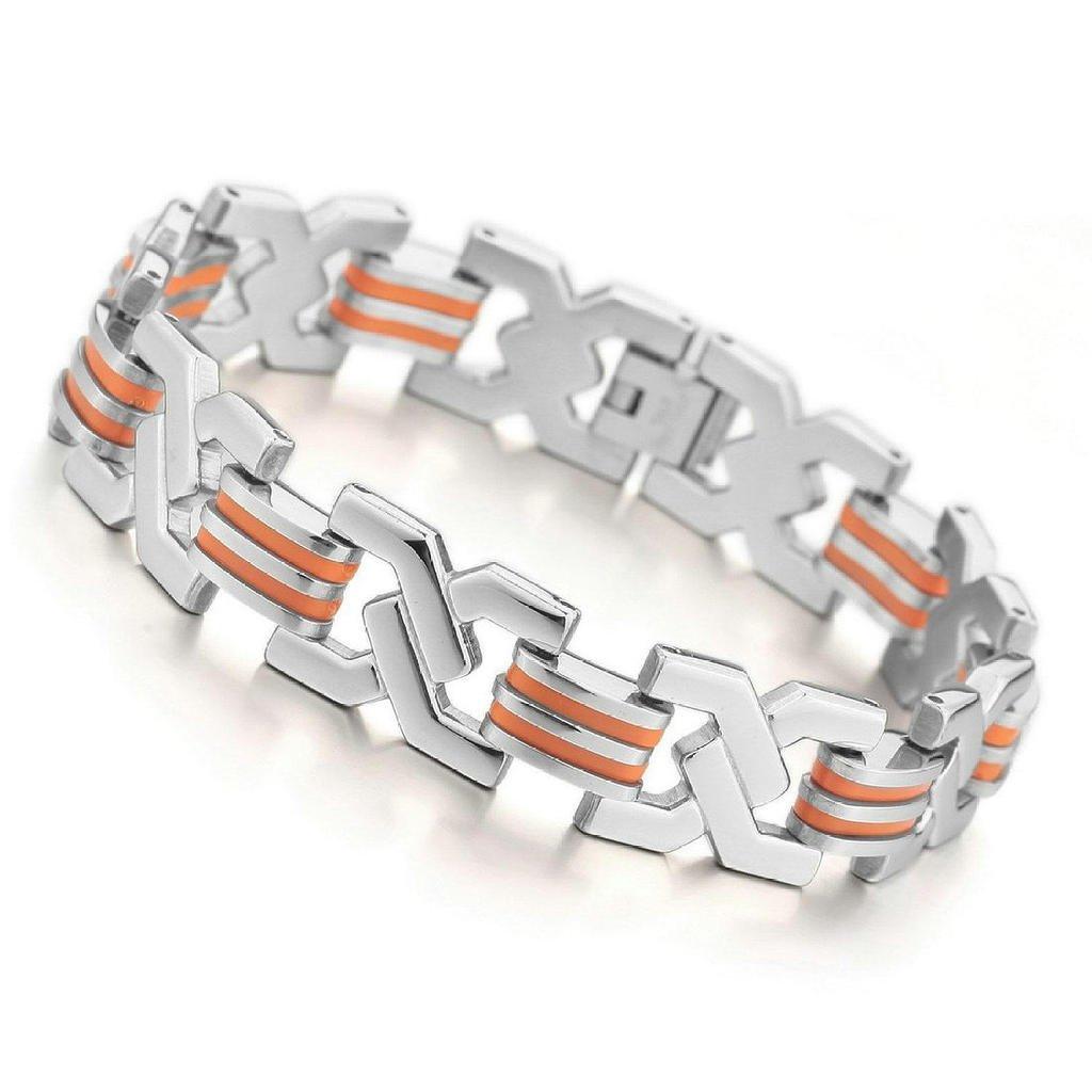 Epinki Mens Stainless Steel Bracelet Link Wrist Silver Black Skull Gothic