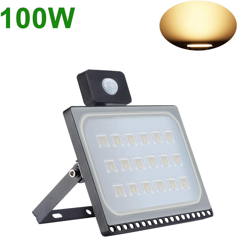 Ultradelgado 100W 220V Proyector LED Foco para Reflector LED con Detector de Movimiento Blanco C/álido