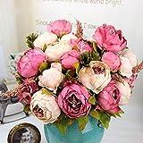 Seasofbeauty 1 Bouquet di peonie artificiali, 20 la casa, decorazioni per matrimonio, festa a forma di foglia, rosa scuro, Misura unica