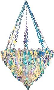 LILF Big Size Reuse Iridescent Foil Chandelier Hanging Ornament Decoration Supplies for Wedding Frozen Party Baby Bridal Shower Fairy Princess Rainbow Show Home Room Decor (Chandelier Shaped Ornament)