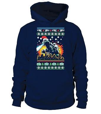 godzilla christmas sweater unisex hoodie