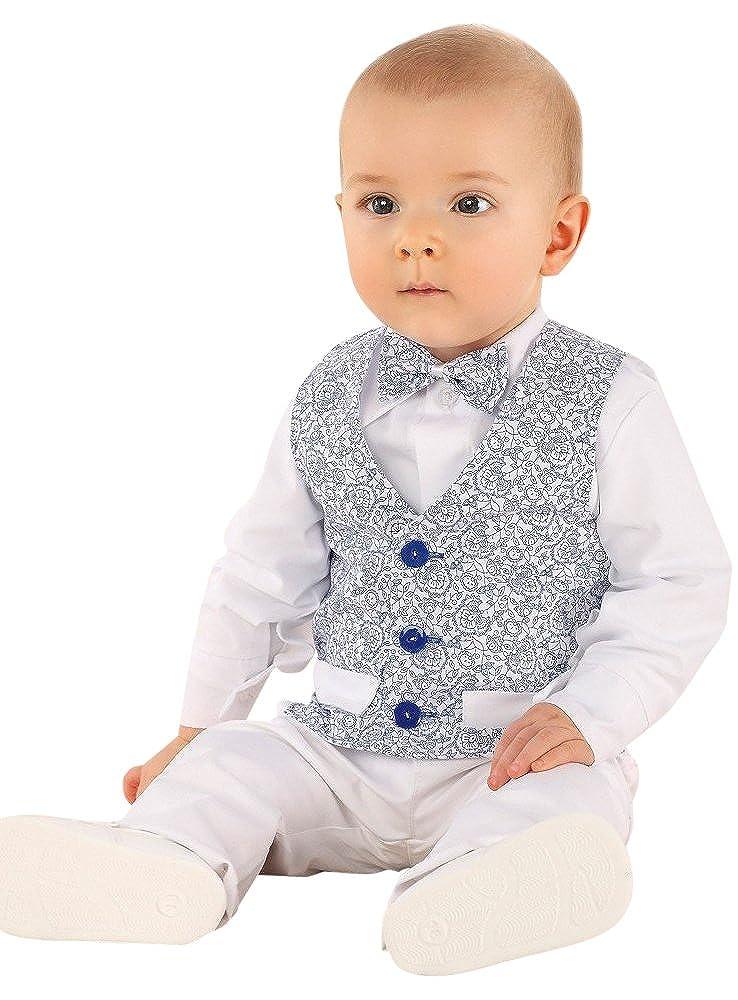 Costume Mariage baptême bébé garçon Blanc et Bleu Royal