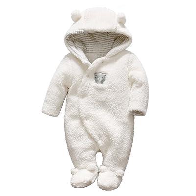 Bébé Combinaison De Neige Fleece Manteau à Capuche Barboteuse Manches Longues Chaud Combinaisons Hiver Tenues Motif ours