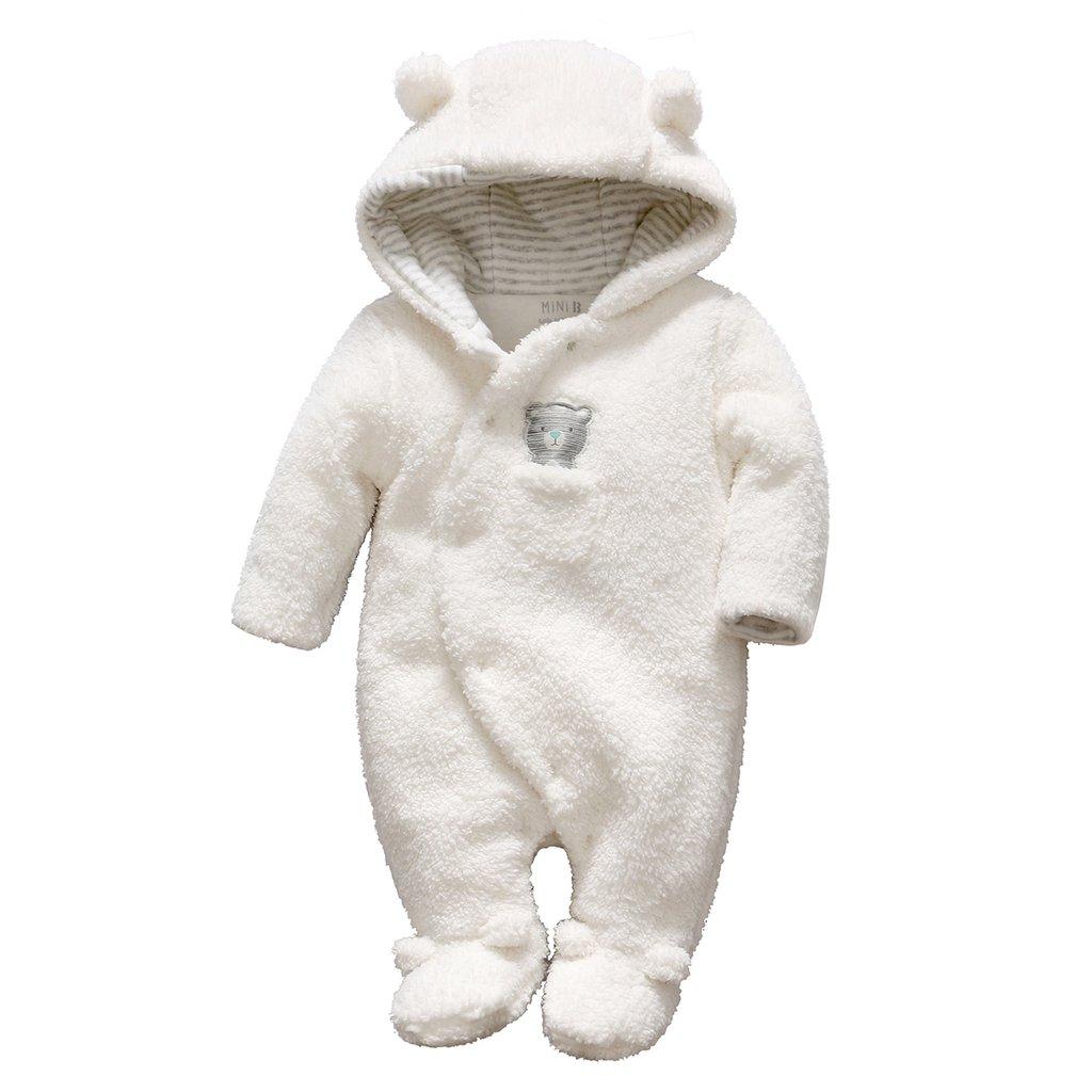 Bambino Pagliaccetto con Cappuccio Tute da neve Inverno Tutina in Pile Caldo Spesso Abbigliamento