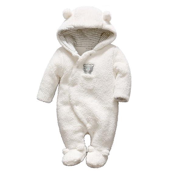 e2a2458eeca05 Bébé Combinaison De Neige Fleece Manteau à Capuche Chaud Barboteuse Hiver  Tenues