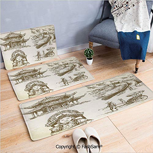 - FashSam 3 Piece Flannel Doormat Chinese Heritage Symbols Pagoda Great Wall Woman Portrait Sketch for Kitchen Rugs Carpet(W15.7xL23.6 by W19.6xL31.5 by W17.7xL53)