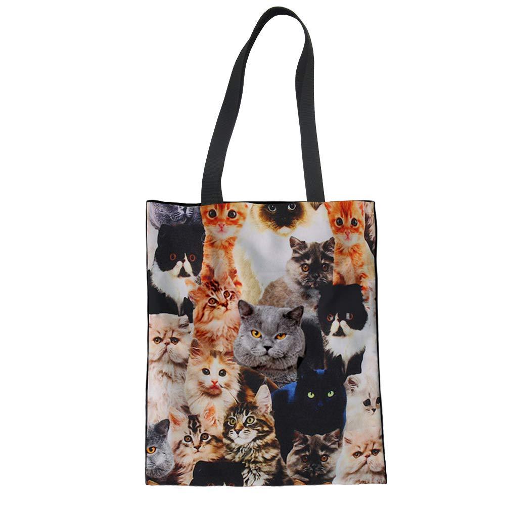 Upetstory Canvas Tote Bag Lovely Cat Animal Print Handbag for College Girls Women Shopping Beach Travel Bag by Upetstory (Image #1)