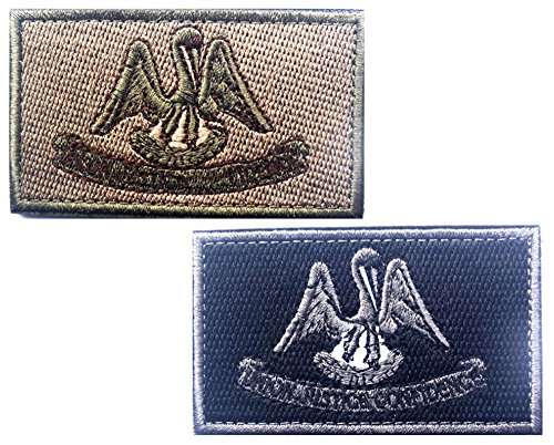 HFDA 2 piece LOUISIANA Flag Patches Velcro Morale Patches Cl