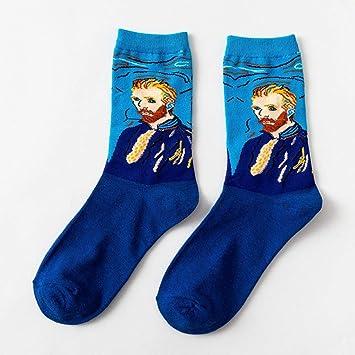 CHAOJI Calcetines De Mujer 6 Unids Literario Calcetines Abstractos Pintura Al Óleo Serie Algodón Calcetines Personalidad