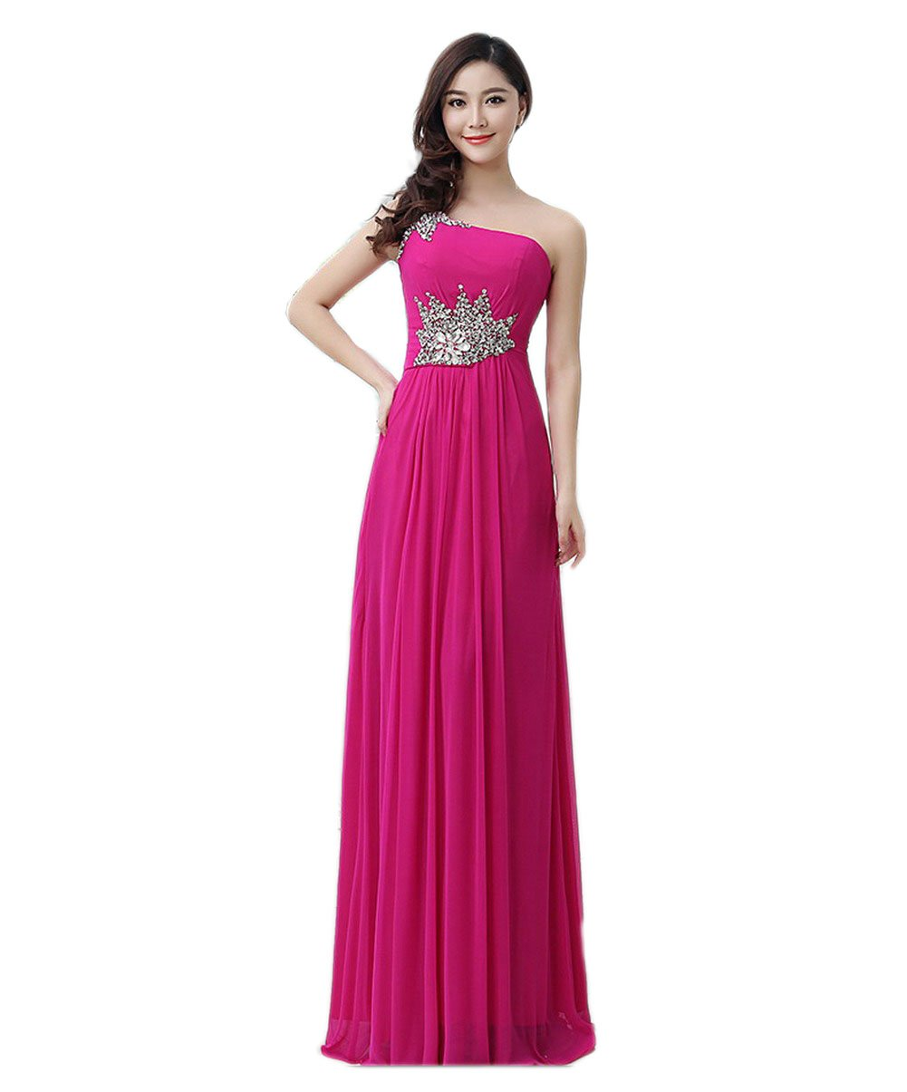 VogueZone009 Womens Sleeveless Chiffon Formal Dresses with Glass Diamond, Rosered, 18W by VogueZone009