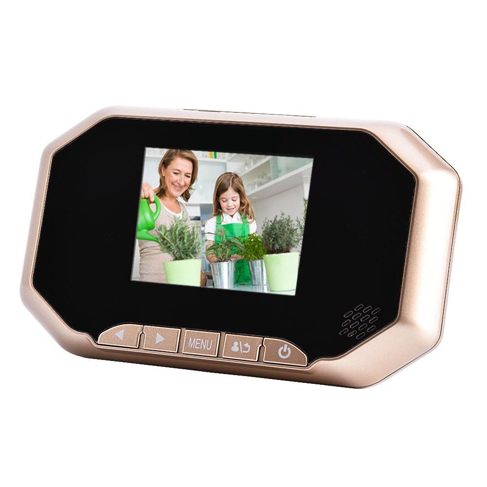 Zetiling Video Door Phone Doorbell,3 inch TFT LCD Color Screen Viewer Doorbell Camera with Indoor Host use for Home Security(Gold)