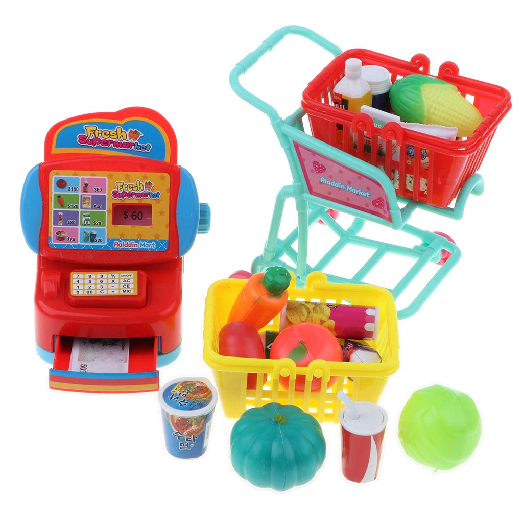 Pretend Play Supermarket Set, Cash Register Playset with Cart and Foods Educational Toy Set for Kids by Flameer