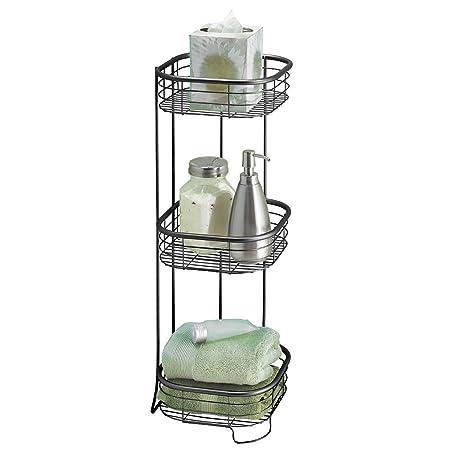MDesign Shower Corner Shelf   Practical Corner Shower Caddy For Shampoo,  Shower Gel, Towels