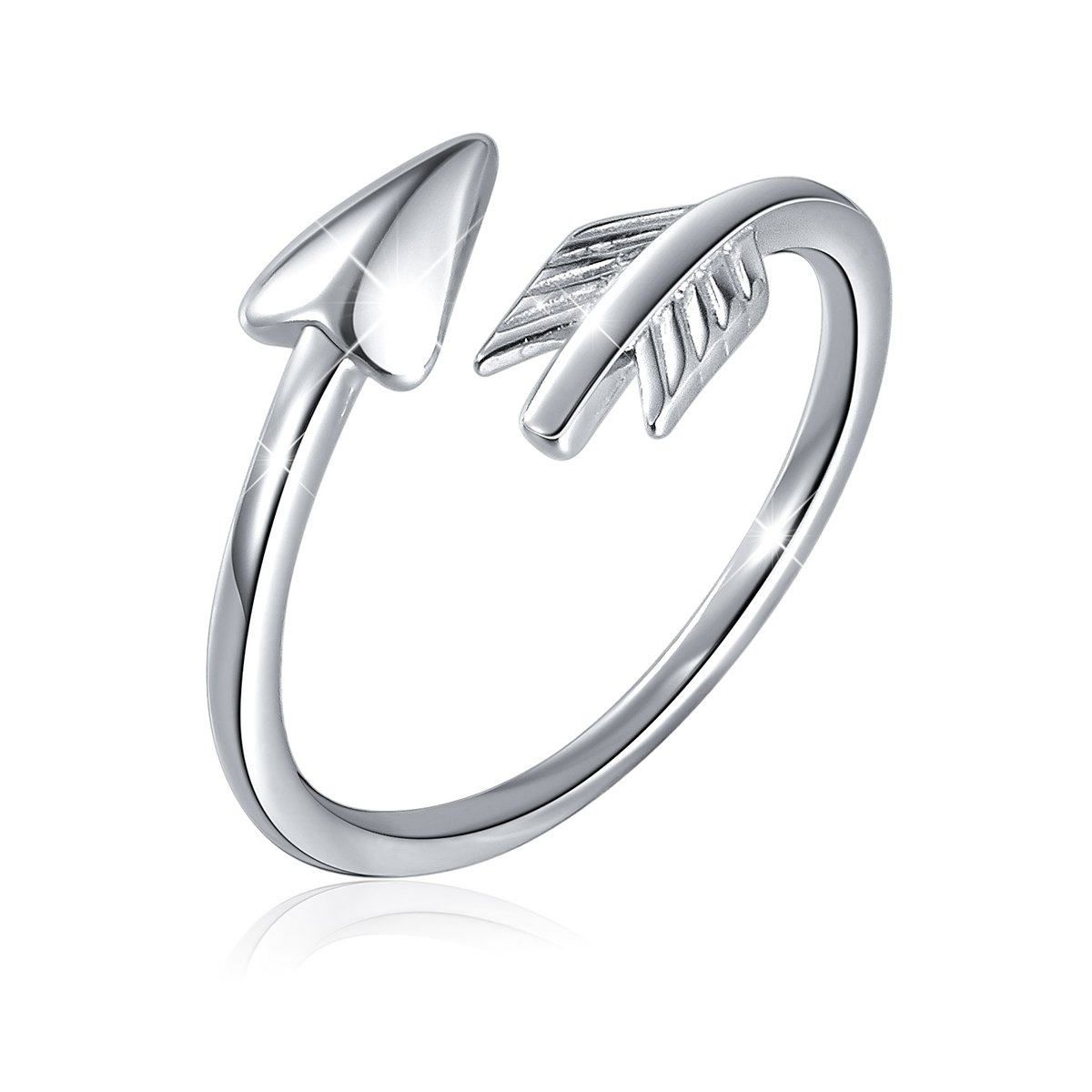 SILVER MOUNTAIN S925 Sterling Silver Classic Love Polished Sideways Arrow Horizontal Ring for Women
