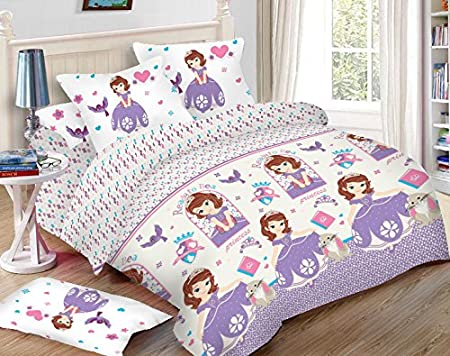 Uber Urban Disney Sofia 80 TC Microfibre Double Bedsheet and 2 Pillow Covers - Abstract, Multicolour