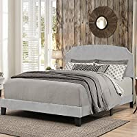 Platform Bed in One with Wooden Legs in Glacier Gray Fabric (Full: 83.13 in. L x 58 in. W x 45.25 in. H)