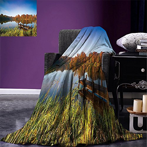 smallbeefly Scenery Digital Printing Blanket Lake View Fishing Countryside Themed with Trees and Long Reeds Work of Art Photo Summer Quilt Comforter Multicolor (Quilts Countryside)