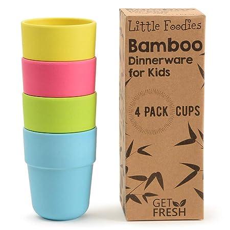 GET FRESH Tazas de Bambú para Niños - 4 Piezas Juego de Tazas de ...