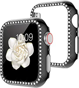 Goton Watch Cover Compatible Apple Watch Case 40mm, Series 4 5 iWatch Face Cover, Women Bling Crystal Diamond Watch Bumper Protector Shockproof PC Protective Frame (Black, 40mm)