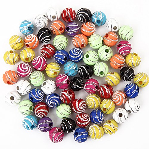 (Bingcute 300Pcs 8mm Screw Shiny Acrylic Round Ball Spacer Loose Beads for Jewelry Making)
