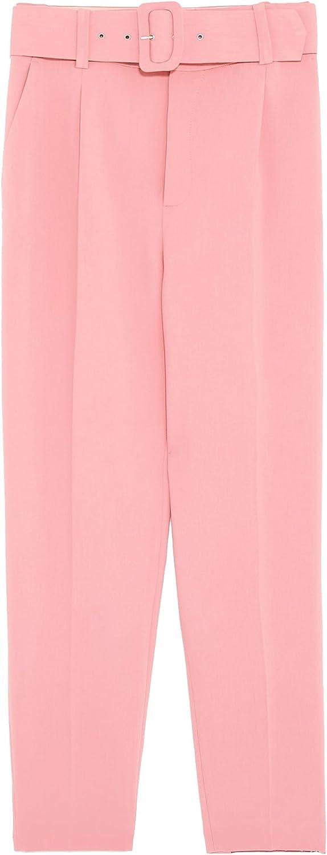 Zara - Pantalón - para Mujer Rosa S: Amazon.es: Ropa