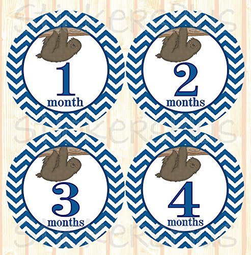 Baby-Boy-Month-Stickers-Monthly-Baby-Milestone-Stickers-Chevron-Blue-Jungle-Safari-Sloth-Baby-Age-Stickers