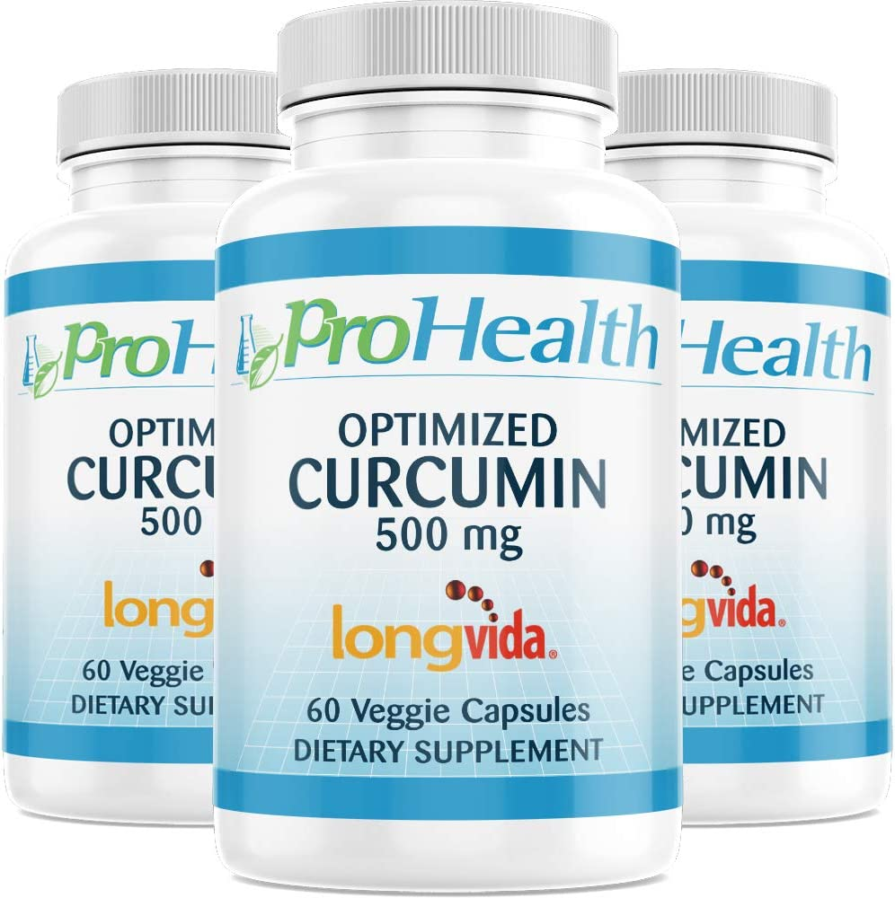 ProHealth Optimized Curcumin Longvida 3-Pack 500 mg, 60 Capsules Each 285x More Bioavailable Joint Health Cognition Anti-Inflammatory Antioxidant Supplement