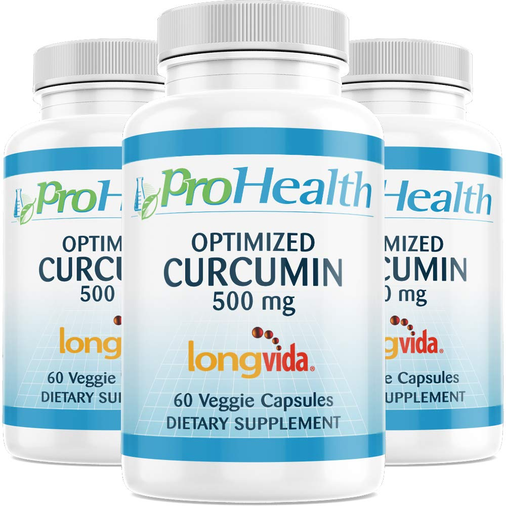 ProHealth Optimized Curcumin Longvida 3-Pack (500 mg, 60 Capsules Each) 285x More Bioavailable | Joint Health | Cognition | Anti-Inflammatory | Antioxidant Supplement