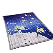 Cusphorn Kids Bedroom Decor Educational Learning Carpet Outer Space Blue Children's Play Mat Nursery Rugs Rectangle Rug