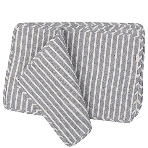 - Neoviva Quilted Denim Placemats for Kitchen Table, Set of 4, Chalk Striped Wild Dove