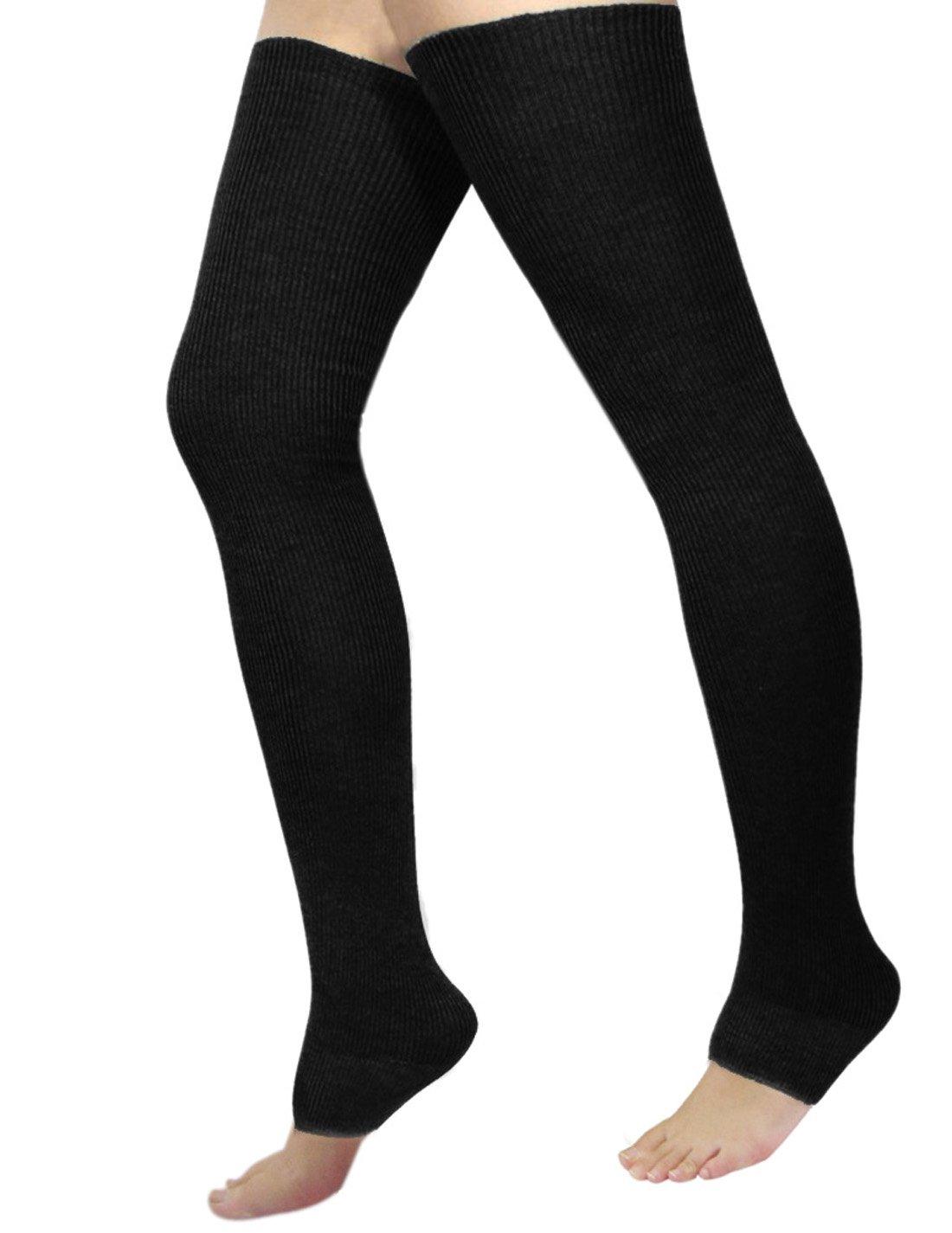 NOVAWO New Cashmere Over Knee Leg Warmers Warm Knit Boots Socks, Black, One Size by Novawo