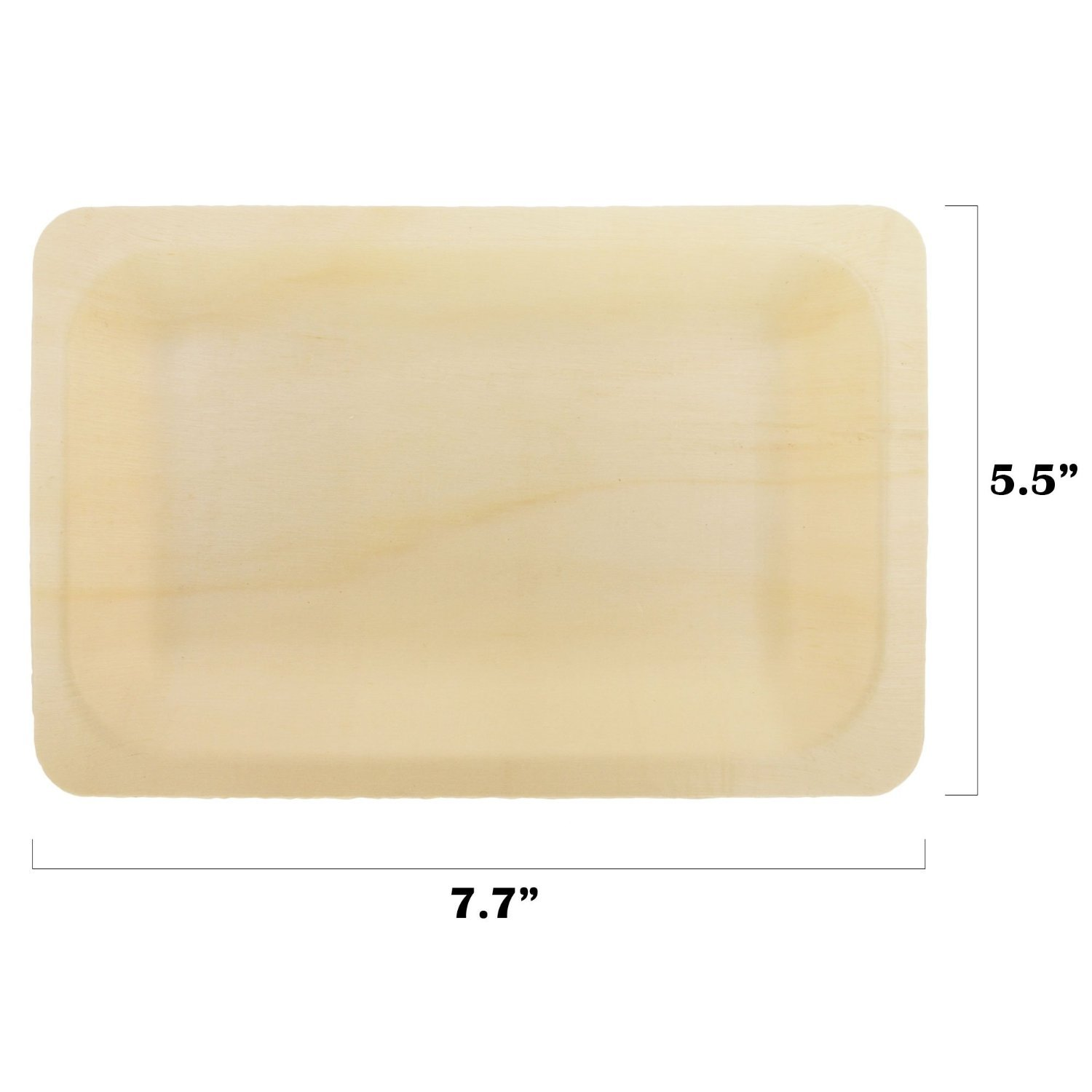 BambooMN Brand - 7.7'' x 5.5'' x 0.7'' Disposable Wood Rectangle Plates / Dishes - 300 Pieces