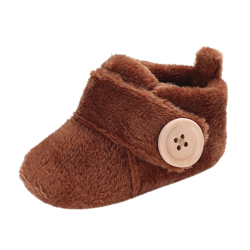 Axinke Winter Soft Warm Cute Baby Boys Girls Newborn Infant Shoes with Button Closure (3-6Month Length:11CM/4.3'', Coffee) by Anxinke (Image #1)