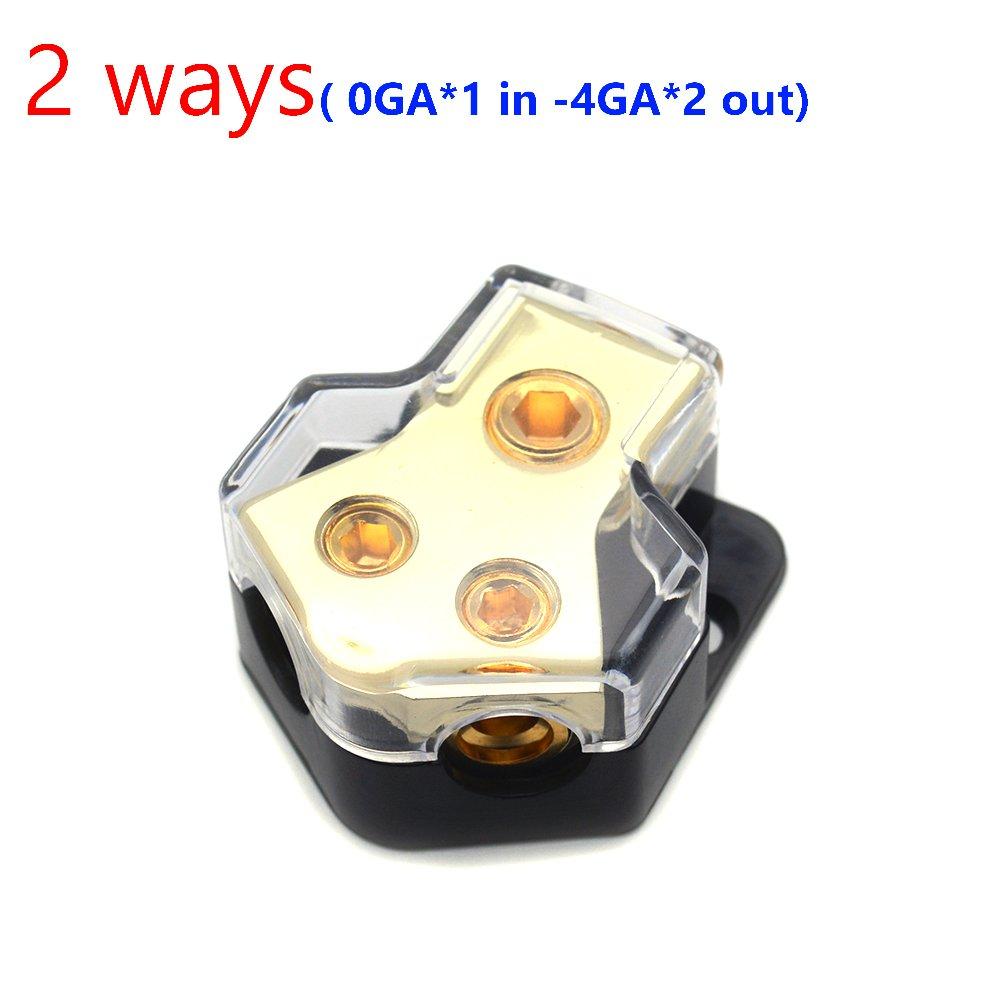 Sydien Car Audio Gold 2 Way Outputs Power Distributor Block Fuse Holder 1x0GA Input 2x4GA Output