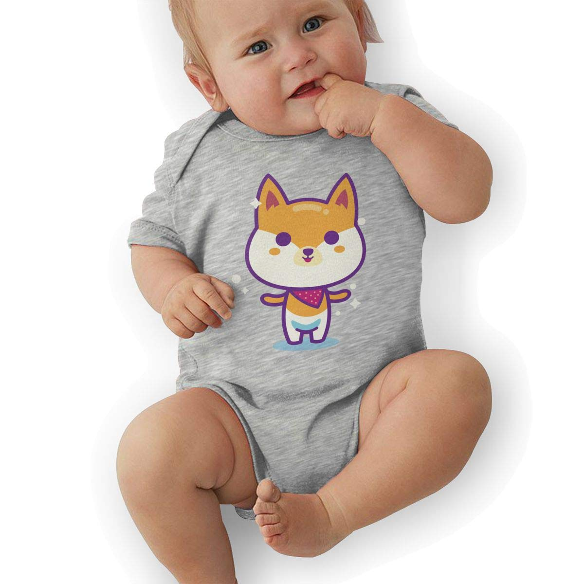 BONLOR Cute Shiba Inu Baby Boys Girls Jumpsuit Overall Romper Bodysuit Summer Clothes Gray
