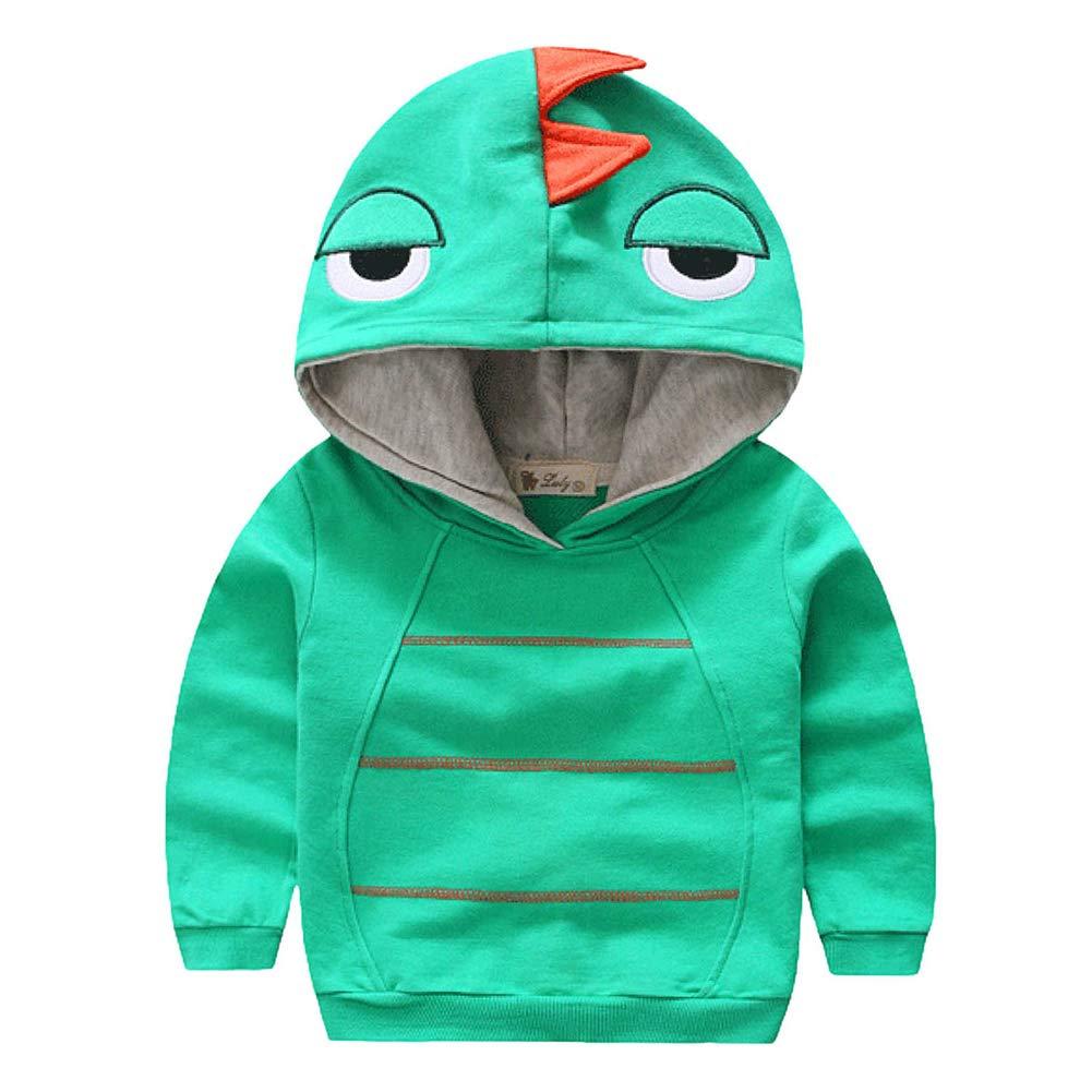 Kids Boys Autumn Dinosaur Hoodies Long Sleeve Jacket Coat Outwear Clothes Strip Solid Sweatshirt 4 Years Old Green by Aivtalk