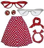 50s Vintage Polka Dot Floral Swing A-line Skirt