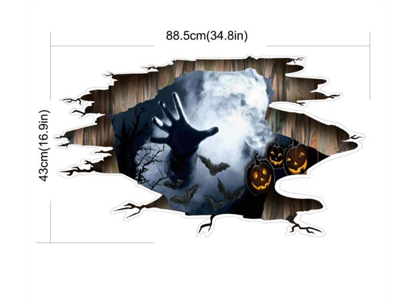 Hezon Happy Festival Halloween 3D Horror Wall Mirror Window Stickers Removable