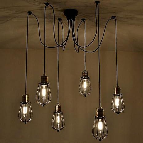 6 Cage Pendant Light Vintage Chandelier Antique Hanging Pendants ...