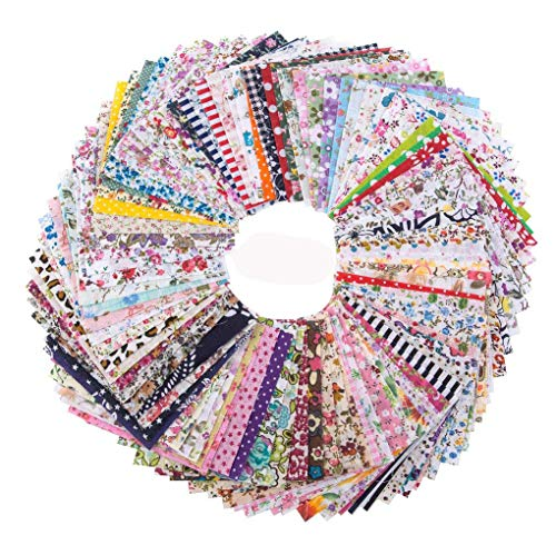 Penta Angel 4 x 4 Inch/10 x 10cm Assorted Pre-Cut Printing Cotton Cloth Square Bundle Quilt Craft Fabric Patchwork DIY Sewing Scrapbooking Quilting Dot Pattern, 100PCS