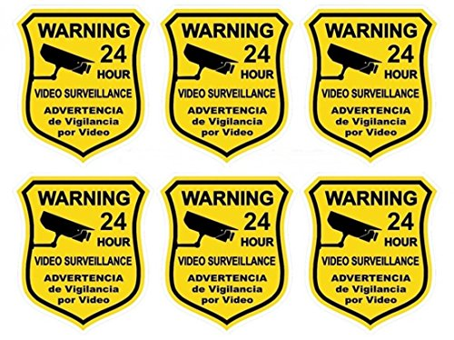 6 Pcs Classical Popular Security Sticker Defense Signs CCTV Surveillance Doors Adhesive Video Warning Size 3.5
