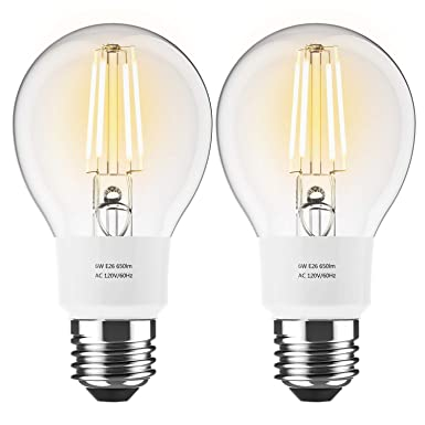 Brizled Smart Edison Bulb, 6W WiFi Filament LED Bulb 60W Equivalent, 2700K Soft White Dimmable Vintage A19 LED Light, E26 Base, No hub Required, Compatible with Alexa and Google Assistant, 2 Pack